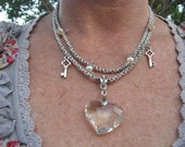 Trifari Vintage Silver Double Chain Upcycled Crystal Heart Key Necklace