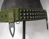 Military Green Canvas Gothic Punk Belt