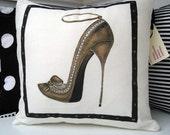 Decorative Shoe Pillow Hand Painted Stiletto 16 inch