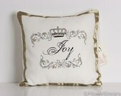 Joy Word Pillow Cover Winter White French Country Hand Painted16 inch
