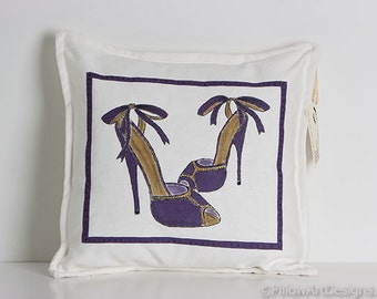 Shoe Decoration High Heels Pillow Cover White Purple Hand Painted Made in Canada