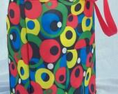 Reusable Shopping Market Tote Bag Red Blue Yellow Green Circles Polka Dots