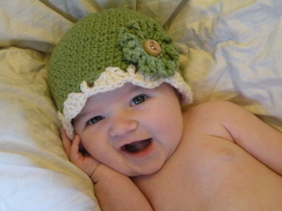 Green Organic Crochet Baby Hat with Interchangeable Flowers 0-6 Months