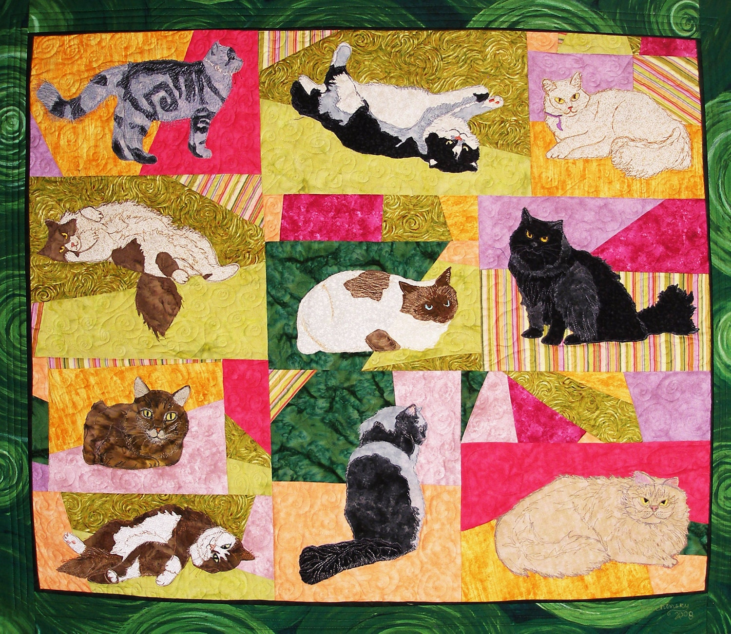 Long Haired Cats PDF Machine Applique Pattern by by critterpat