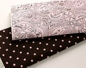 Cotton terry burp cloth set Brown and Pink Dots Paisley