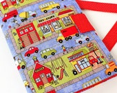 Crayon tote, kids art bag, crayon organizer, Christmas gift idea for boys, toddler toy, gifts for kids, travel tote, activity toy - OUR TOWN