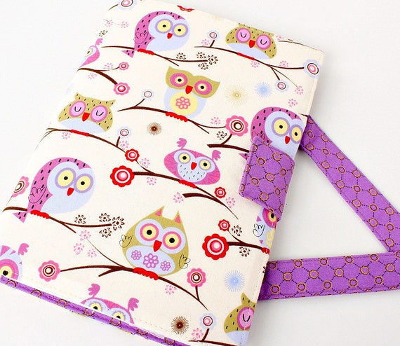 Crayon tote coloring artist case with paper - large crayon wallet -  Hoot Owls