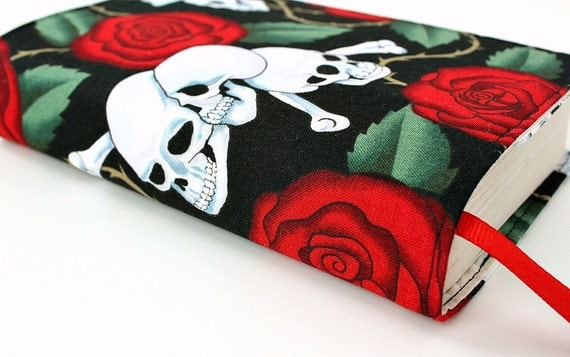 "Paperback book cover for MASS MARKET books - Fits smaller books measuring approximately 4.125"" wide x 6.75"" tall - Skulls and Roses"