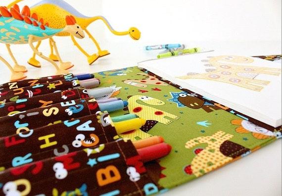 Children travel toy - crayon bag art portfolio for kids - large crayon wallet - Dinosaur (LAST ONE)