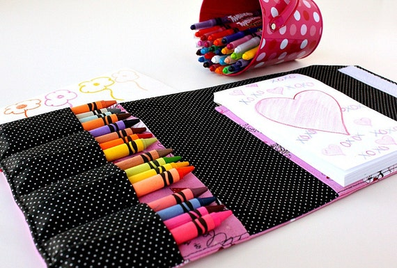 Large crayon wallet - travel toy for kids - Love (Ready To Ship)