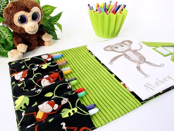 Coloring bag - crayon wallet - crayon tote for kids - Jungle Monkey (LAST ONE)