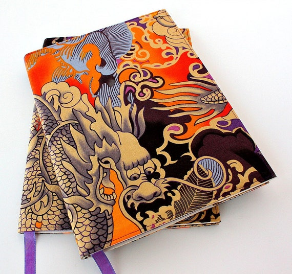 Notebook cover - fabric journal cover for composition notebooks - office decor - Asian Dragon