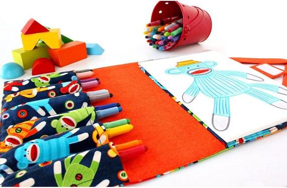 SALE Crayon bag - crayon wallet - quiet toys for kids -  Sock Monkeys (LAST ONE)