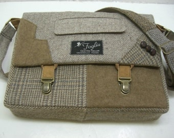"Messenger Bag, 13"" Laptop Sleeve,Trunk Latch collar and sleeve accents,Recycled Suit Coat"