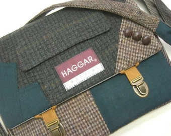 Messenger Bag, iPad Case, collar and sleeve accents, trunk latches, Eco Friendly Recycled