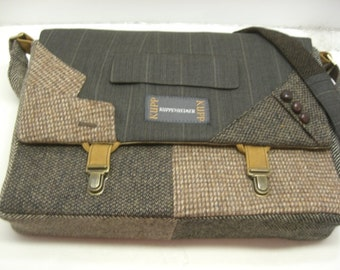 "Womens, Mens Messenger Bag   15"" Laptop Sleeve,Trunk Latch collar and sleeve accents,Recycled Suit Coat"