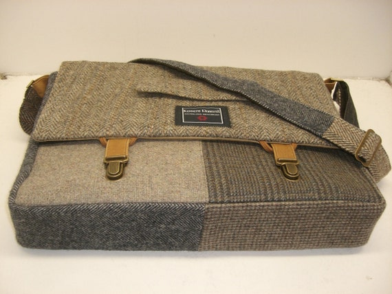 Messenger Bag, Laptop Sleeve, Trunk Latch,  Large, Recycled Suit Coat one of a kind gift