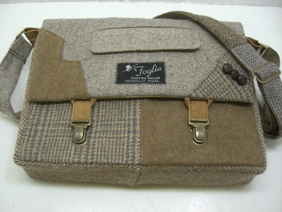 """Messenger Bag, 13"""" Laptop Sleeve,Trunk Latch collar and sleeve accents,Recycled Suit Coat"""