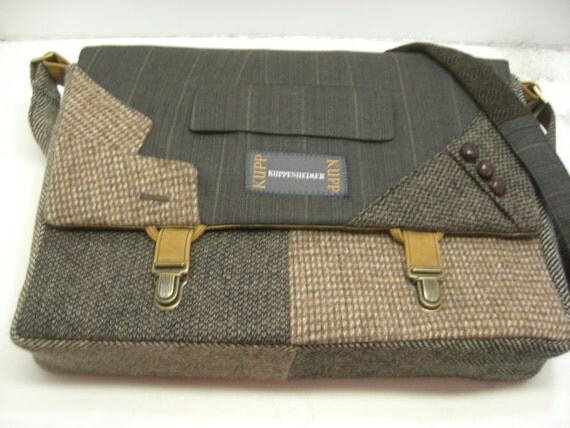 """Womens, Mens Messenger Bag   15"""" Laptop Sleeve,Trunk Latch collar and sleeve accents,Recycled Suit Coat"""