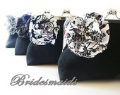 Bridesmaid Clutch Set Black and White Wedding Spring Wedding Summer Bridesmaid Set of 4 Custom Bridesmaids Clutches Bags Flower Brooch