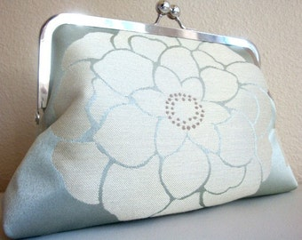 Silver Sky Ivory Flower Purse Bag Wedding Clutch Bridesmiad Gift by Lolis Creations