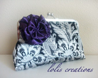 Silver Black Brocade Flower Wedding Clutch Bridesmaid Gift by Lolis Creations