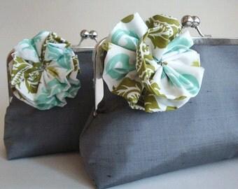 Silk Flower Clutch Wedding Bridesmaid Gift Purse Bag by Lolis Creations