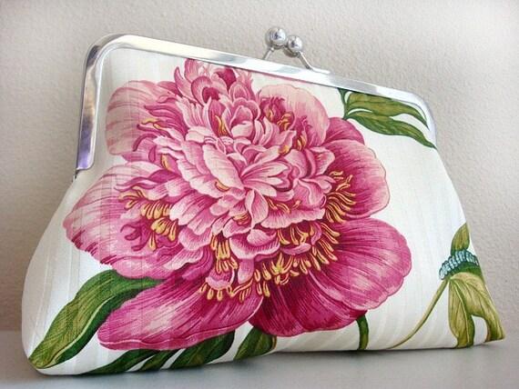 Peony Flower Purse Bag Clutch by Lolis Creations