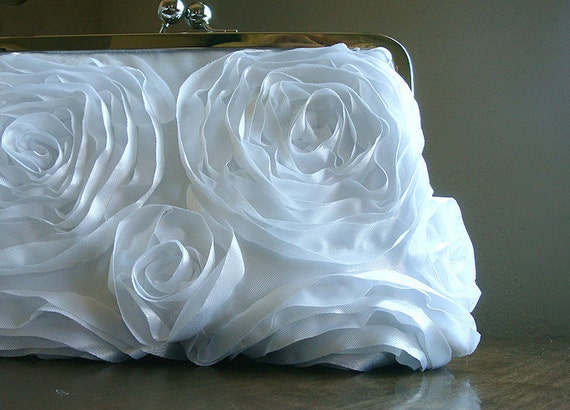 SALE White Ribbon Rosette Bridesmaid Gifts Purse Bag Wedding Bridal Clutch by Lolis Creations