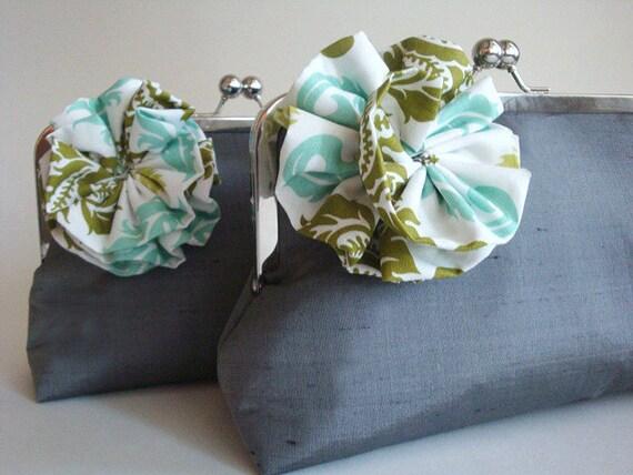 Silk Lolis Flower Wedding Clutch Bridesmaid Purse Bag Gift Idea by Lolis Creations