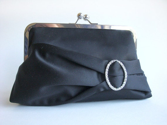 Oval Rhinestone Black Bridal Wedding Clutch Purse Bridesmaid Gift Bag