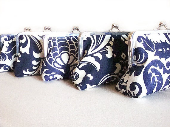 Bridesmaids Clutches Bridesmaids Gift Bags Set of 5 Nautical Wedding by Lolis Creations