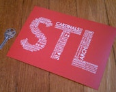 STL Mini Print - 5 x 7 Red St. Louis MO Postcard