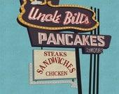 Uncle Bills Pancakes (8 x 10 Retro Diner Sign Print)