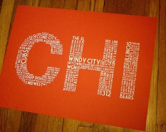 CHI (24 x 18 Hand-screened Chicago Word Cloud Poster Print in Tangy Orange)