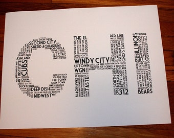 CHI (24 x 18 Hand-screened Chicago Word Cloud Poster Print in Black and White)