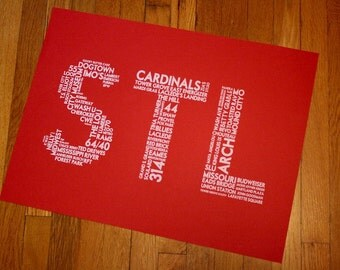 STL (24 x 18 Hand-screened St Louis Word Cloud Poster Print in Red)