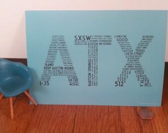 ATX Mini Print - 5 x 7 Robins Egg Blue Austin TX Postcard