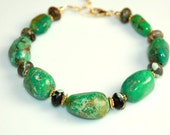 Genuine Green Turquoise Bracelet - Chunky Natural Stone - 7 inches