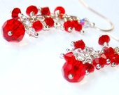 Crystal Dangle Earrings - Cluster Earrings - Red and White Christmas Earrings - ELEVEN13