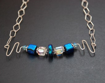 Waves Necklace, Blue Dichroic Glass Necklace,  Zig Zag, Unique Jewelry, Swarovski crystal