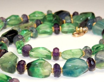 Rainbow Fluorite Gemstone Necklace - Long Necklace - Beaded - Purple and Green - 30 inches long