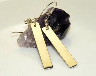 Sterling Silver Bar Earrings, Modern Jewelry, Long earrings, minimalist jewelry , simple earrings