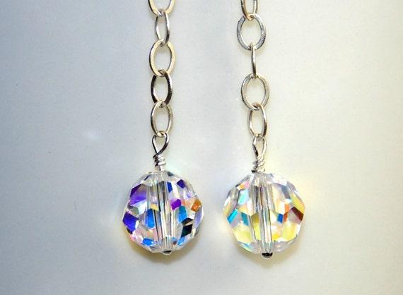 Swarovski Crystal Earrings - Long Earrings - Rainbow Crystal Ball