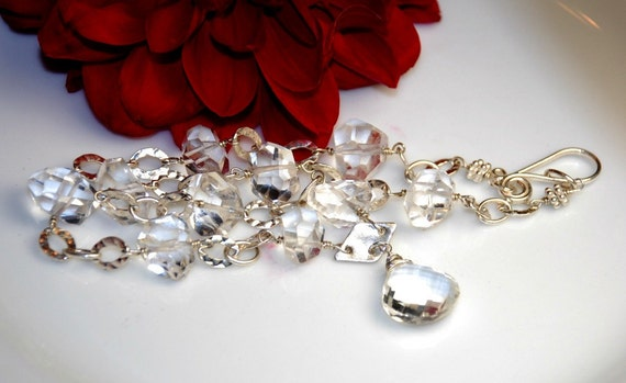 Crystal Quartz Necklace - Bridal Jewelry - Large focal Gemstone Pendant - Natural Stone Jewelry - Clear