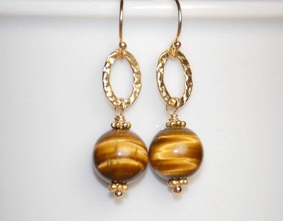 Tigers Eye Earrings 14K Gold Filled and Vermeil Gemstone Circles
