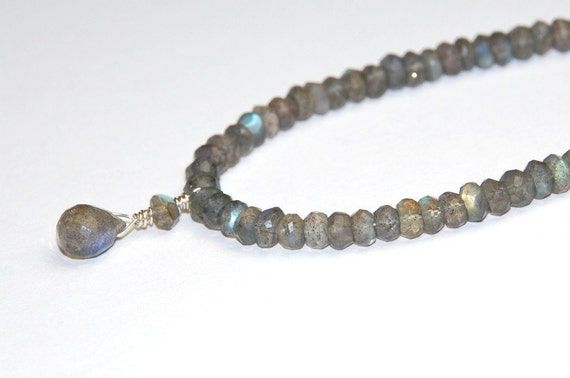 Labradorite Necklace with Sterling Silver Gemstone Necklace Simple Natural Stone 18 inches long