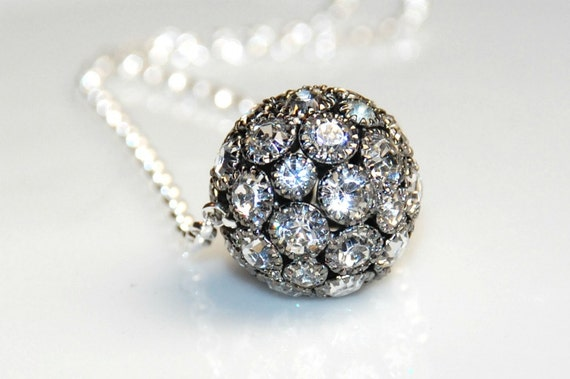 Black Rhinestone Ball Necklace -Sterling Silver -18 inches long