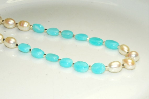 RESERVED FOR D. - Pearl Necklace - Peruvian Blue Opal - Sterling Silver - Natural Stone