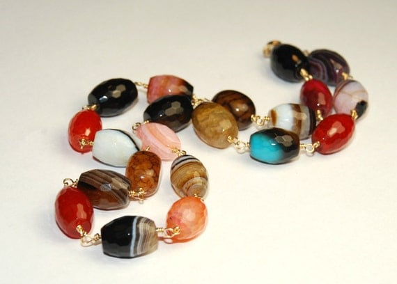 Agate Necklace Multi Colored Necklace 14K Gold filled  Wire wrapped Natural Stone